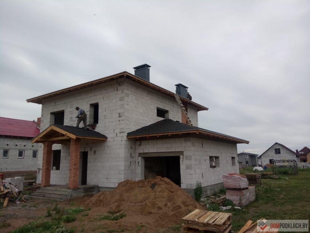 Фото двухэтажного дома из газосиликата